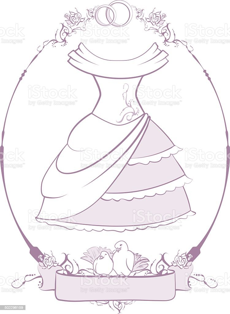 Bride wedding dress in frame royalty-free stock vector art