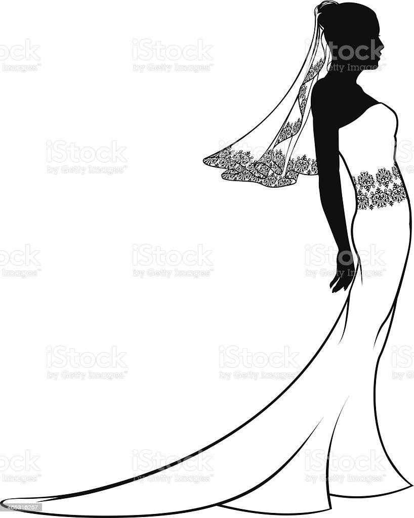 Bride wedding dress silhouette vector art illustration