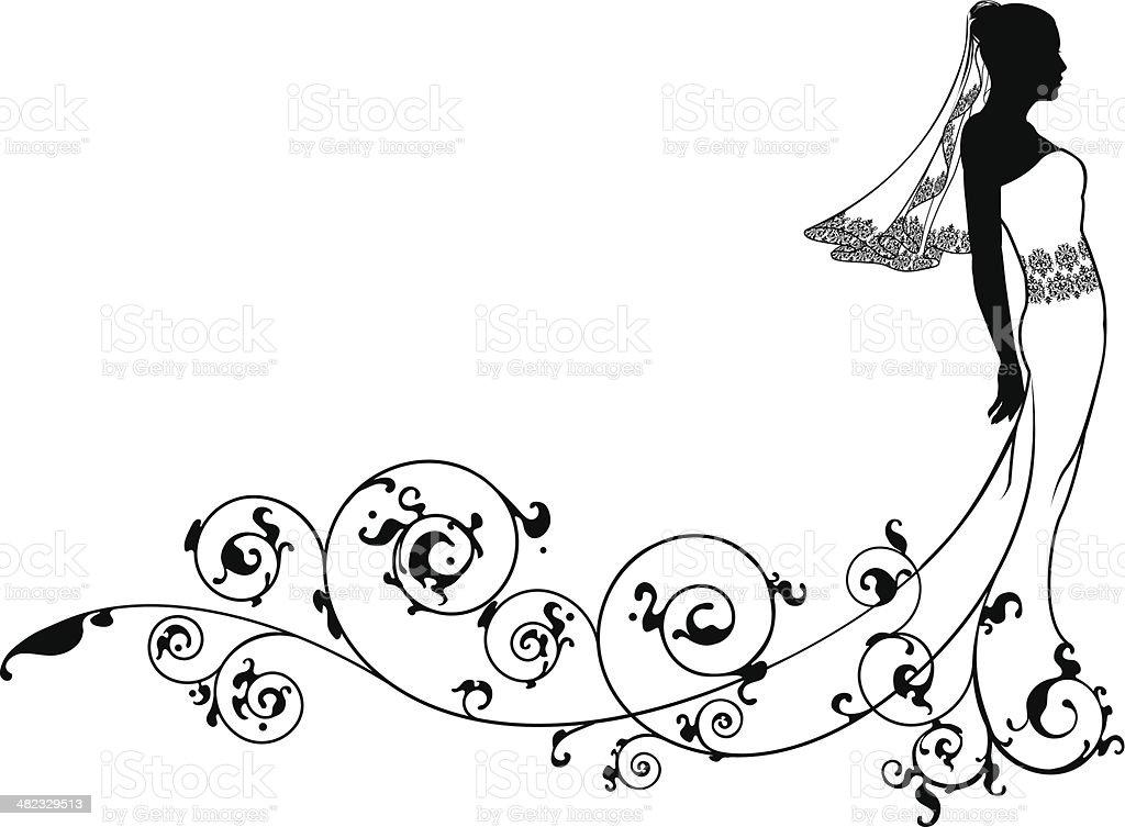 Bride wedding fashion silhouette vector art illustration