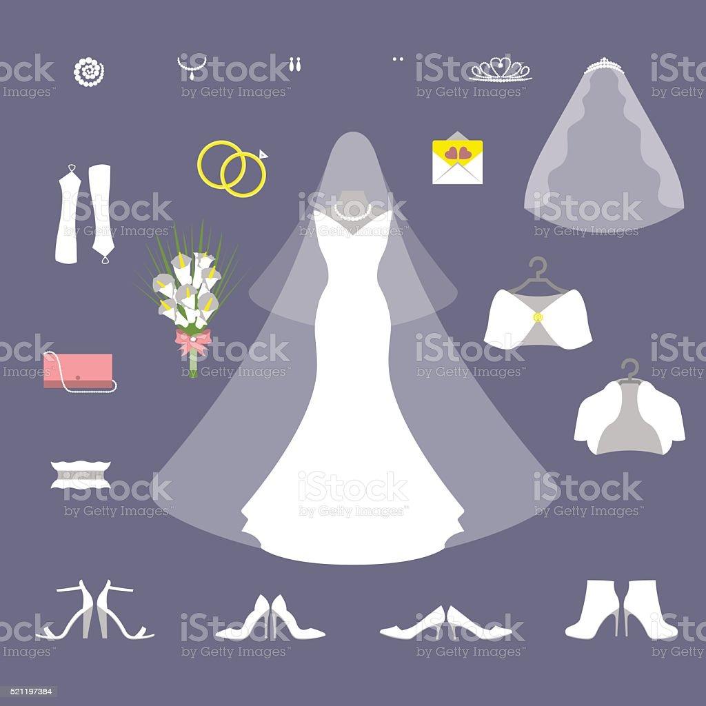 Bride wedding set vector art illustration