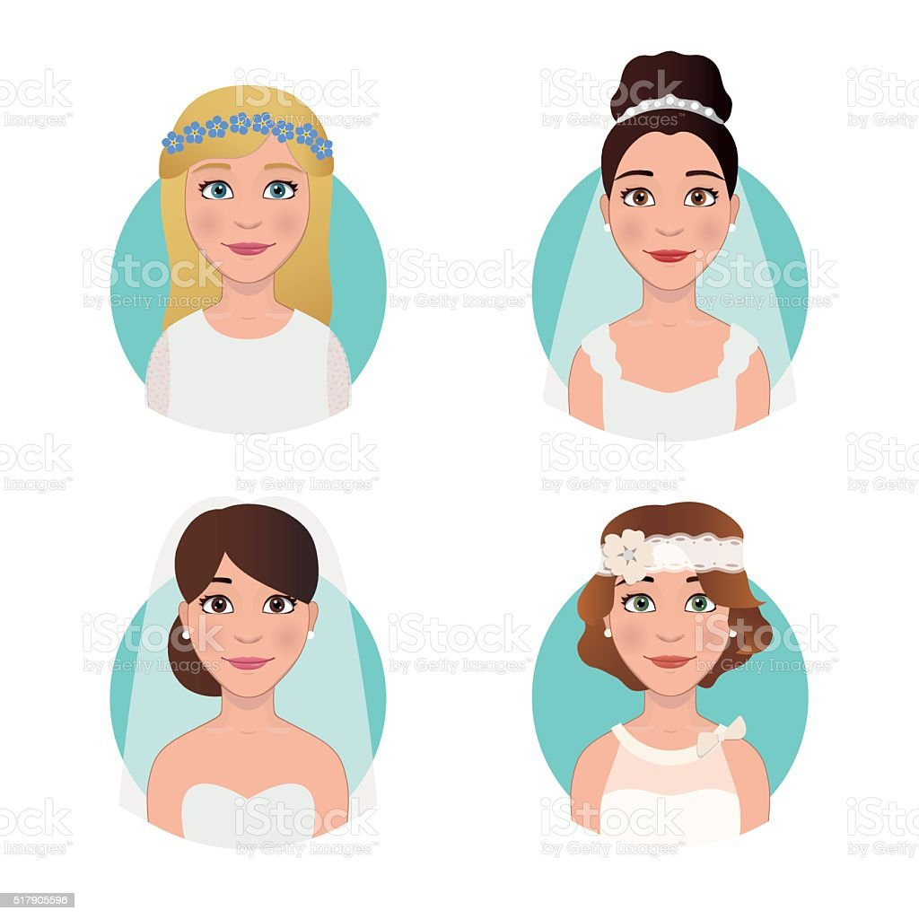 4 brides different styles: hipster, sexy, retro, classic vector art illustration