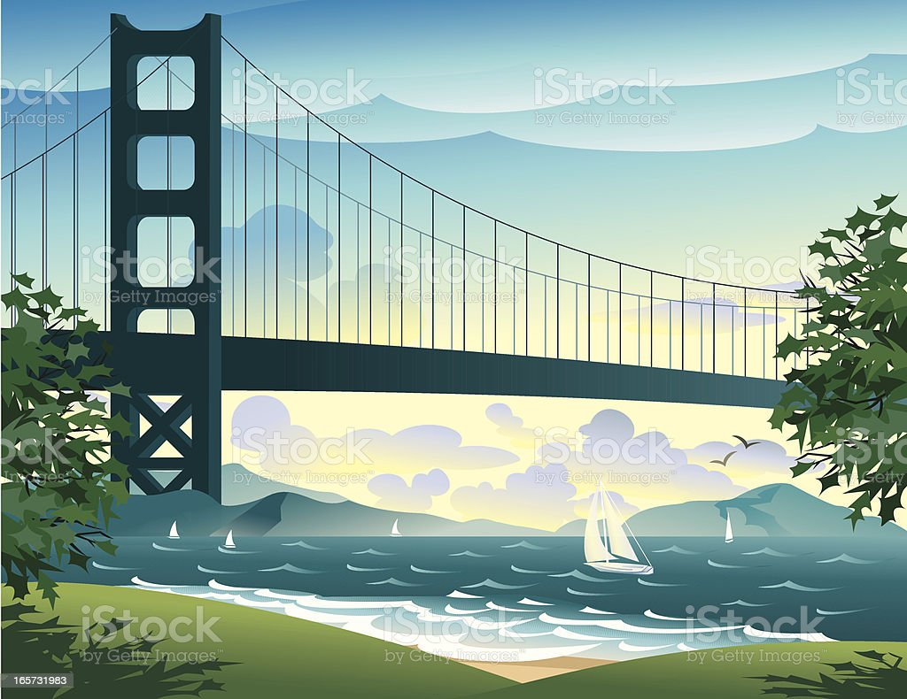 Bridge and sailboats on the bay royalty-free stock vector art