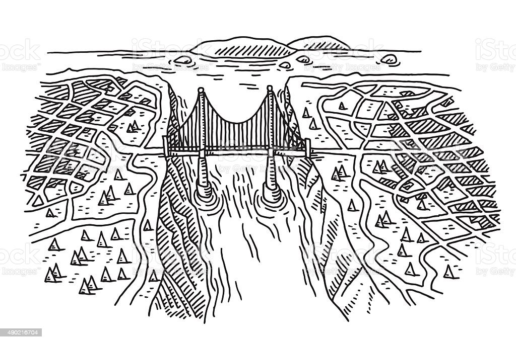 Bridge Connecting Two Cities Drawing vector art illustration