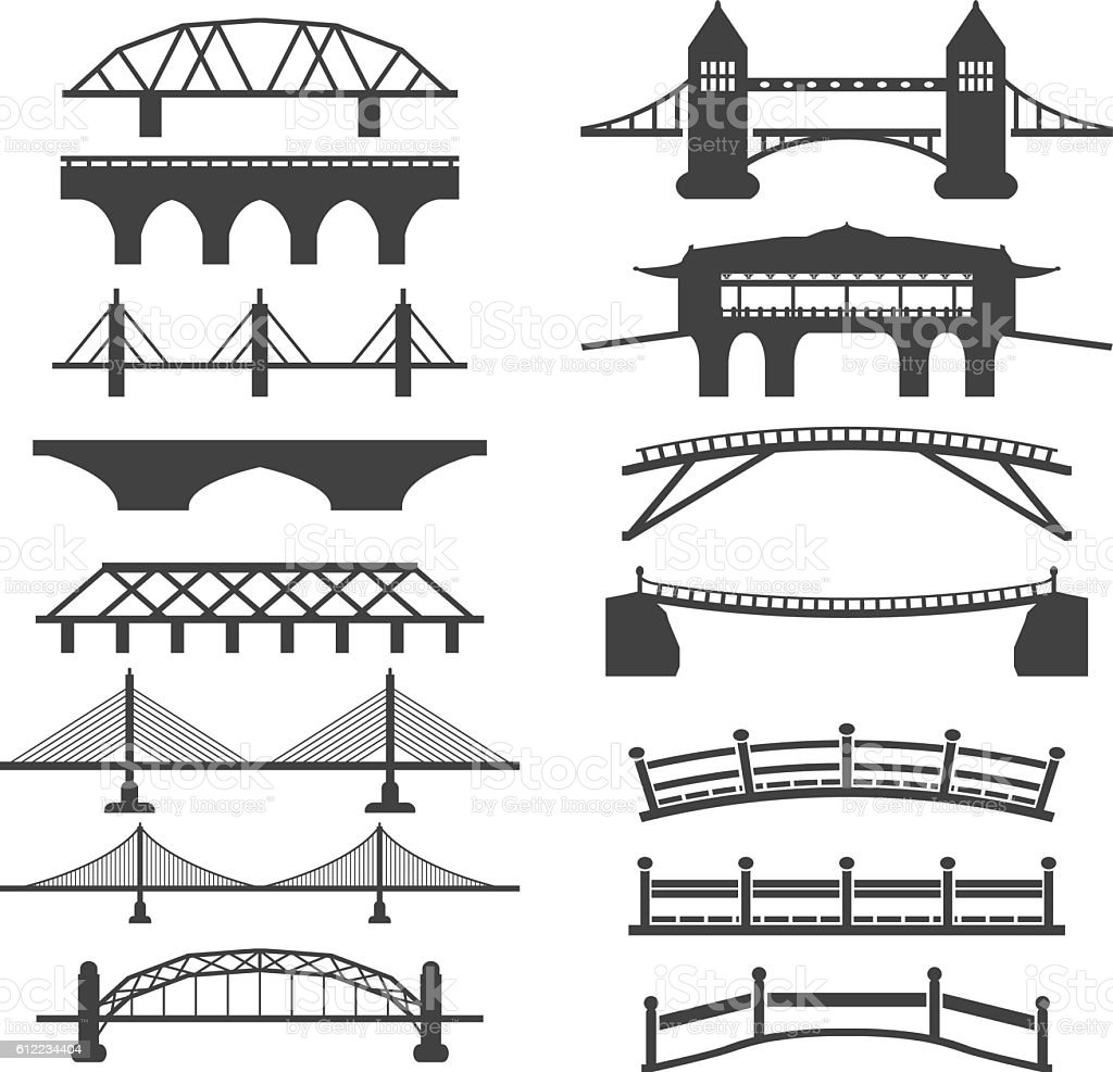 Bridge icons set vector art illustration