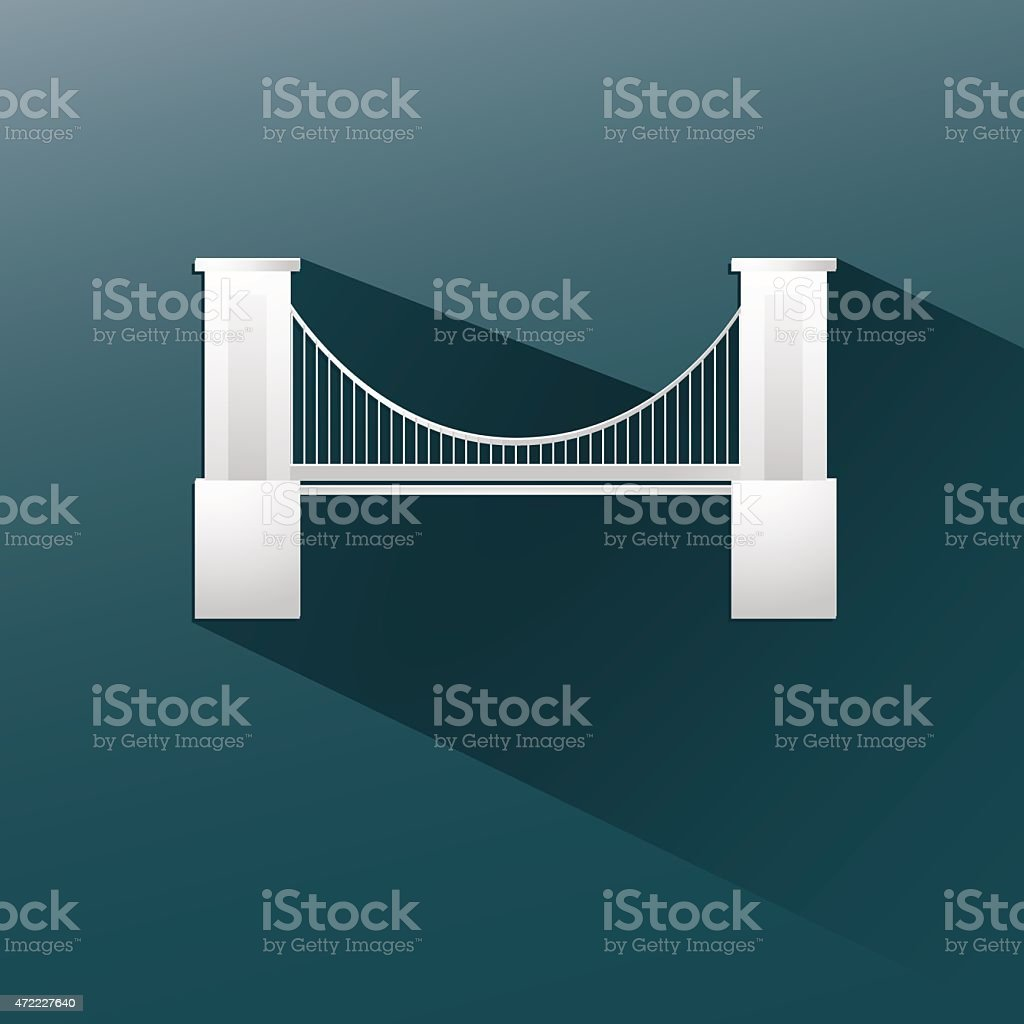 bridge in blue background, flat and shadow design vector art illustration
