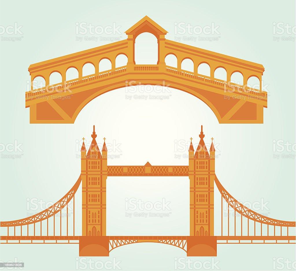 Bridge Landmark Icons vector art illustration