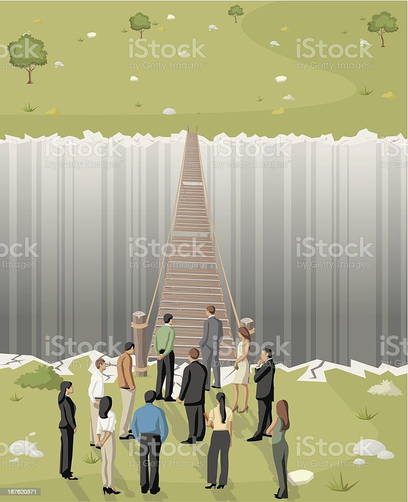 bridge over abyss vector art illustration