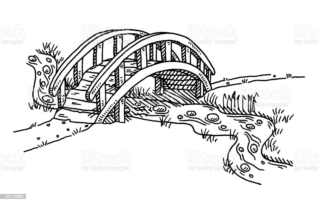 Bridge Over Creek Drawing stock vector art 497103985 | iStock