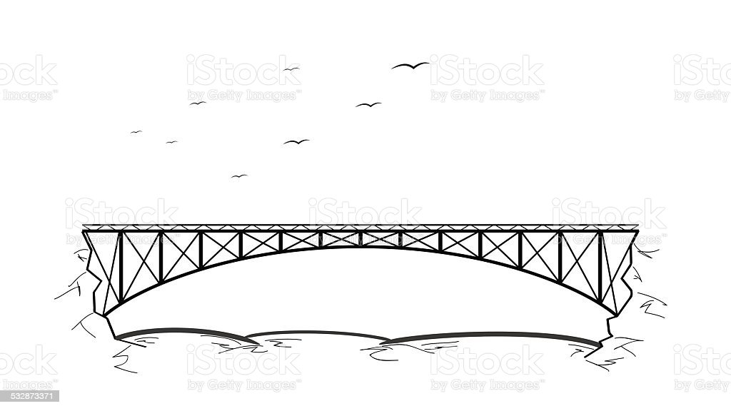 bridge over the river vector art illustration