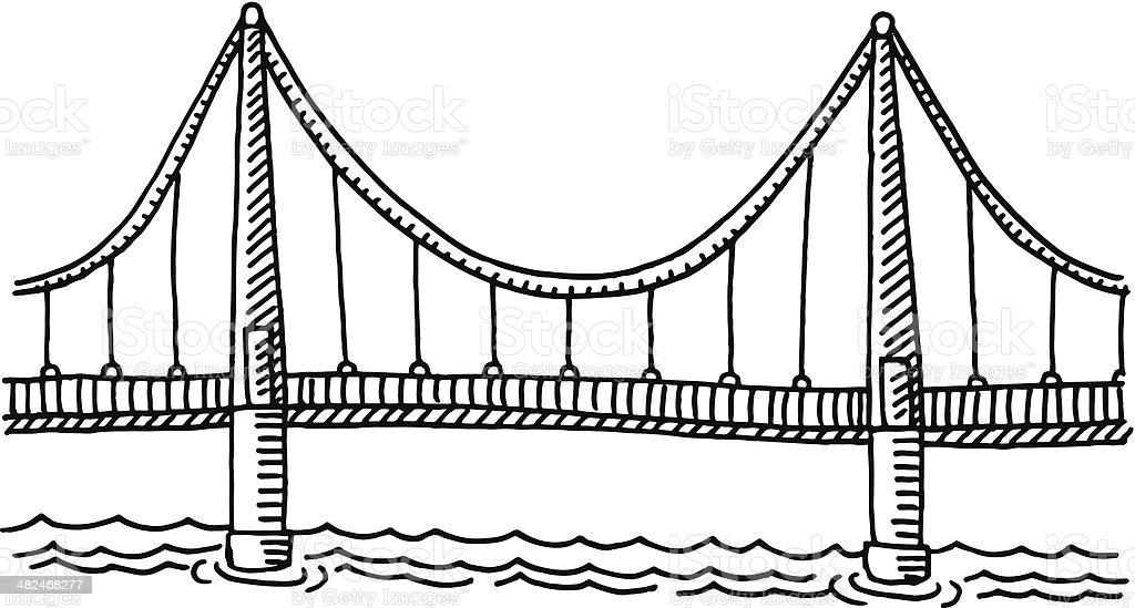Bridge Side View Drawing vector art illustration