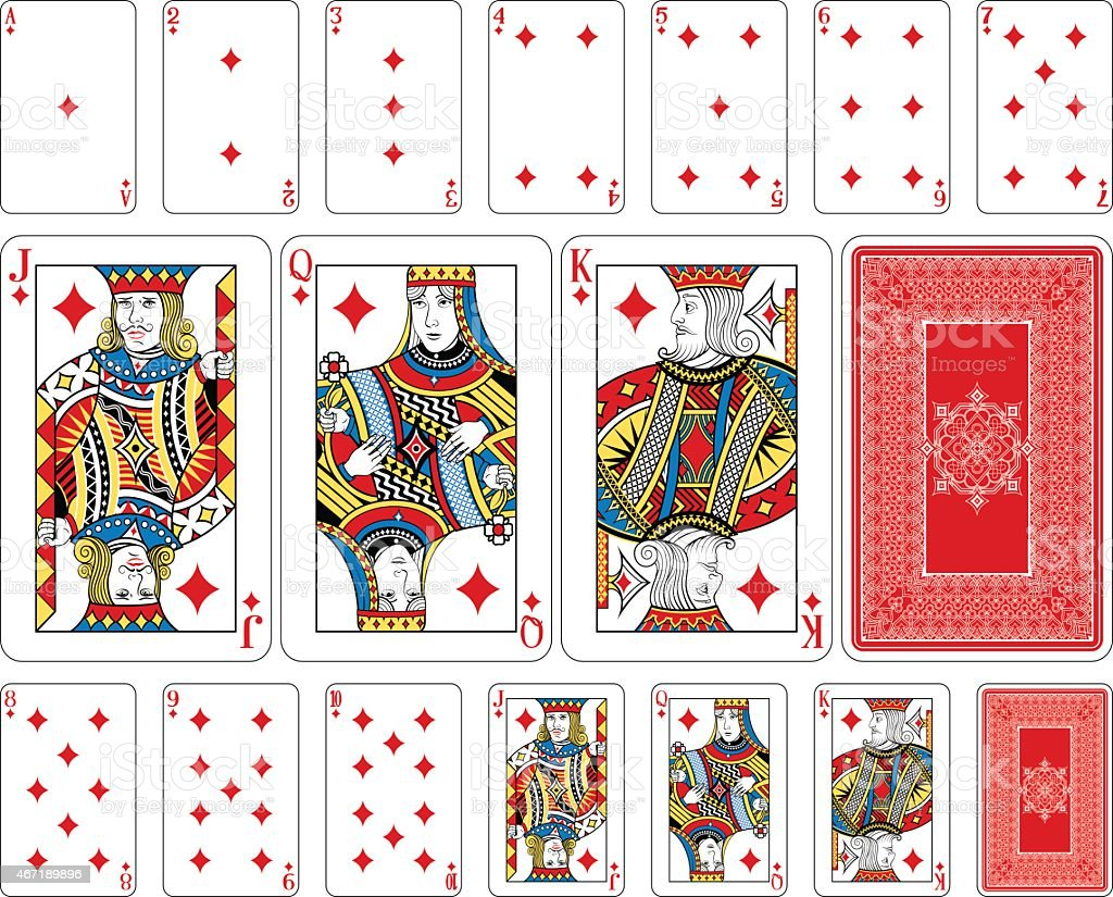 Bridge size Diamond playing cards plus reverse vector art illustration