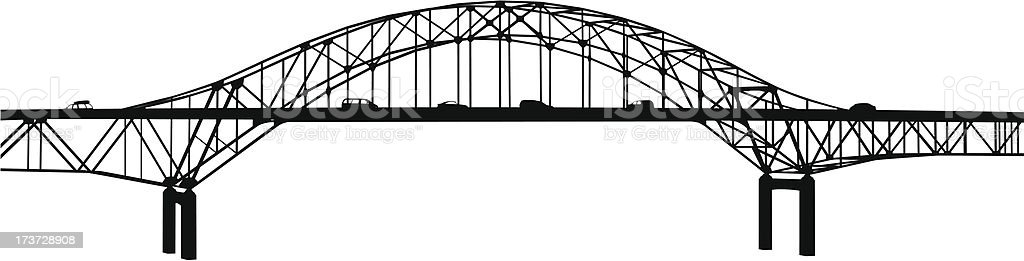 Bridge Traffic vector art illustration