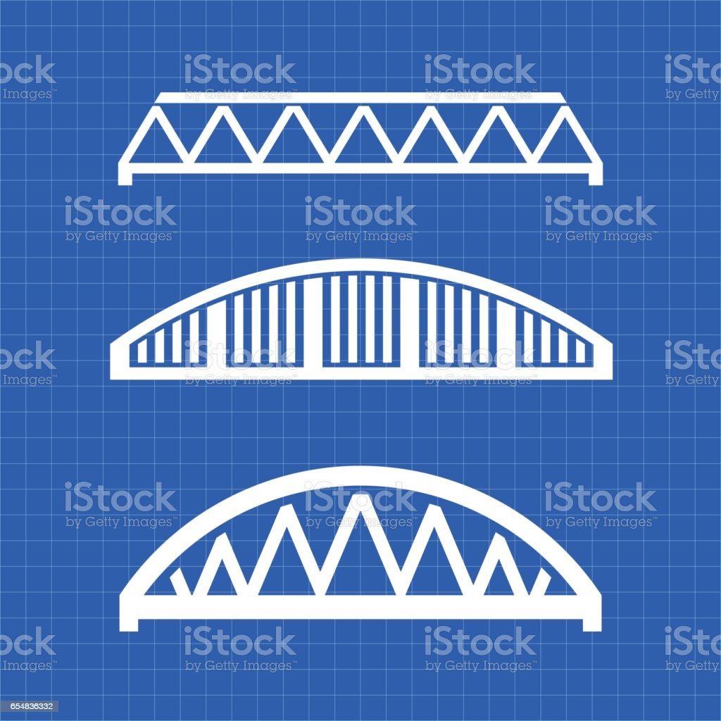 Bridges Engineering Types Graphic vector art illustration