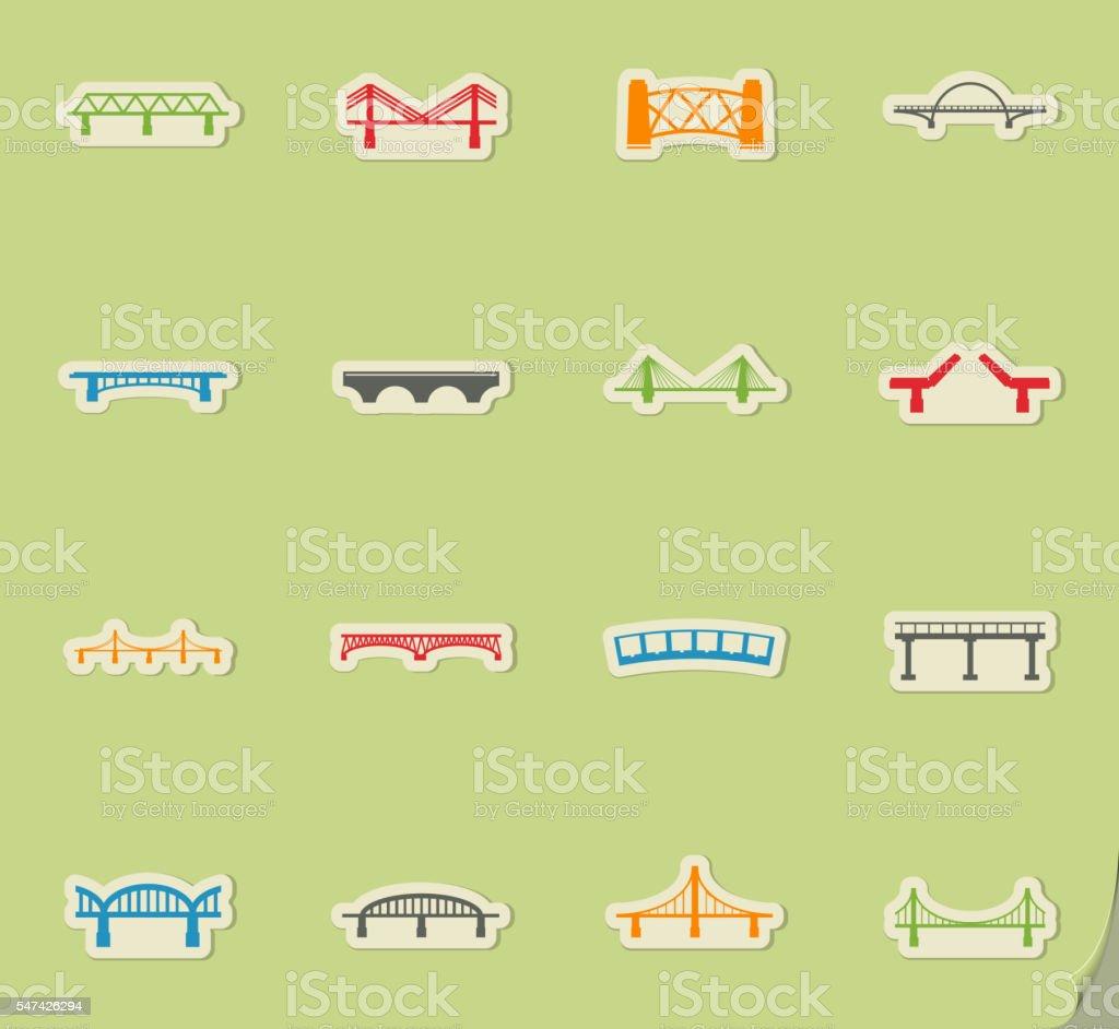 Bridges icons set vector art illustration