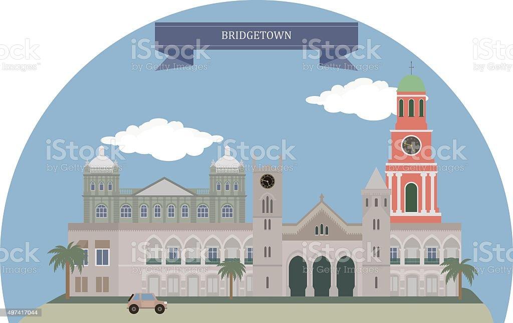 Bridgetown, Barbados vector art illustration