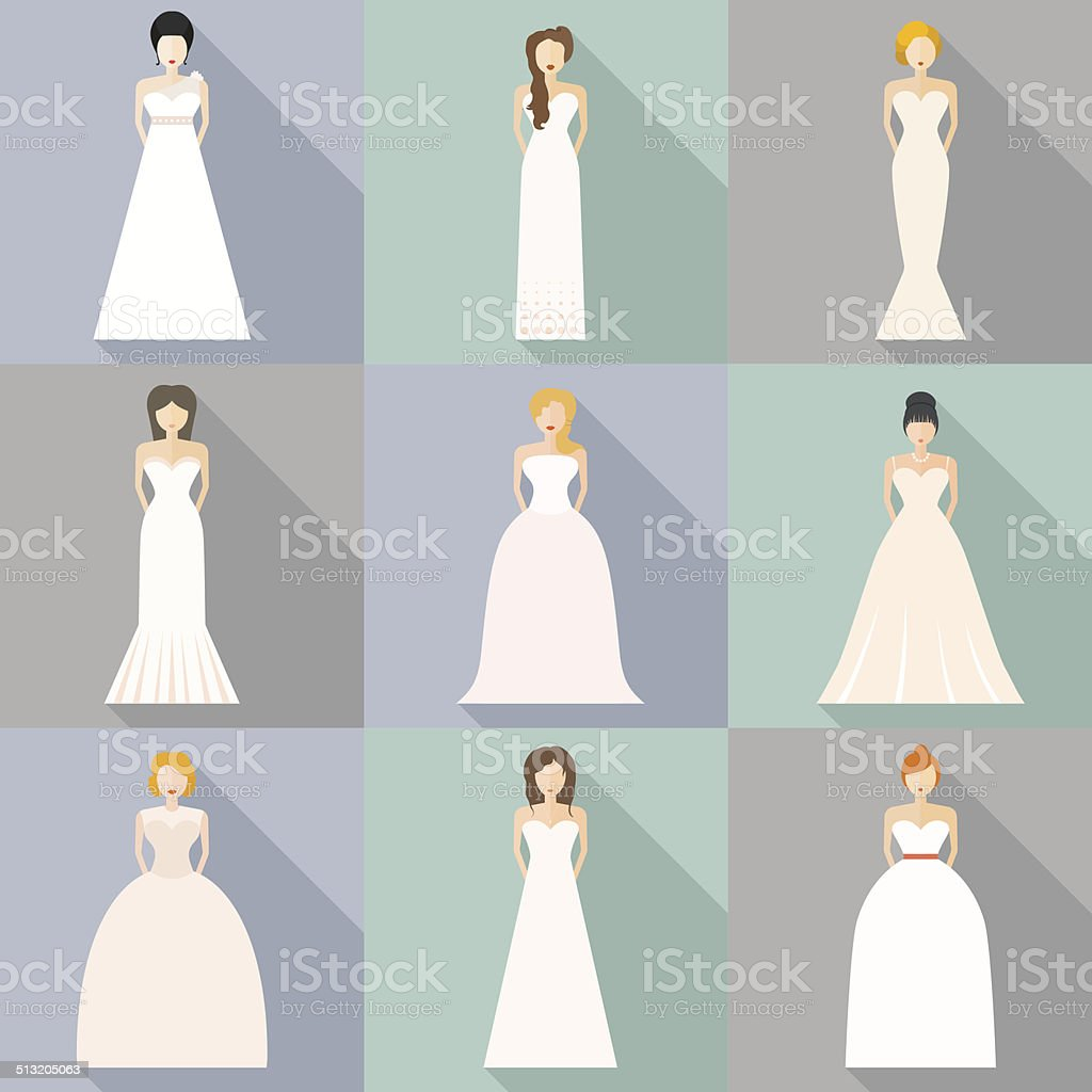 Brids In Wedding Dresses vector art illustration