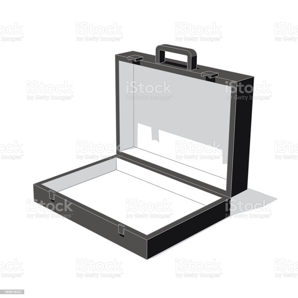A brief case open on a white background royalty-free stock vector art