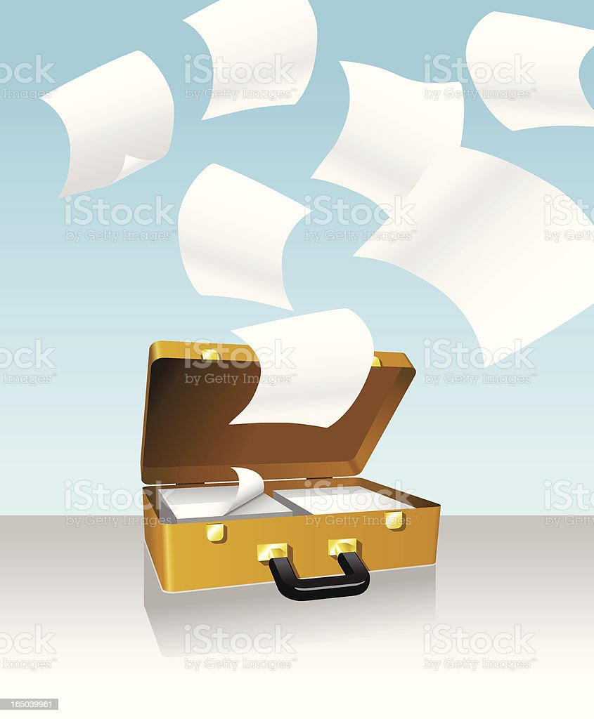 Briefcase and papers royalty-free stock vector art