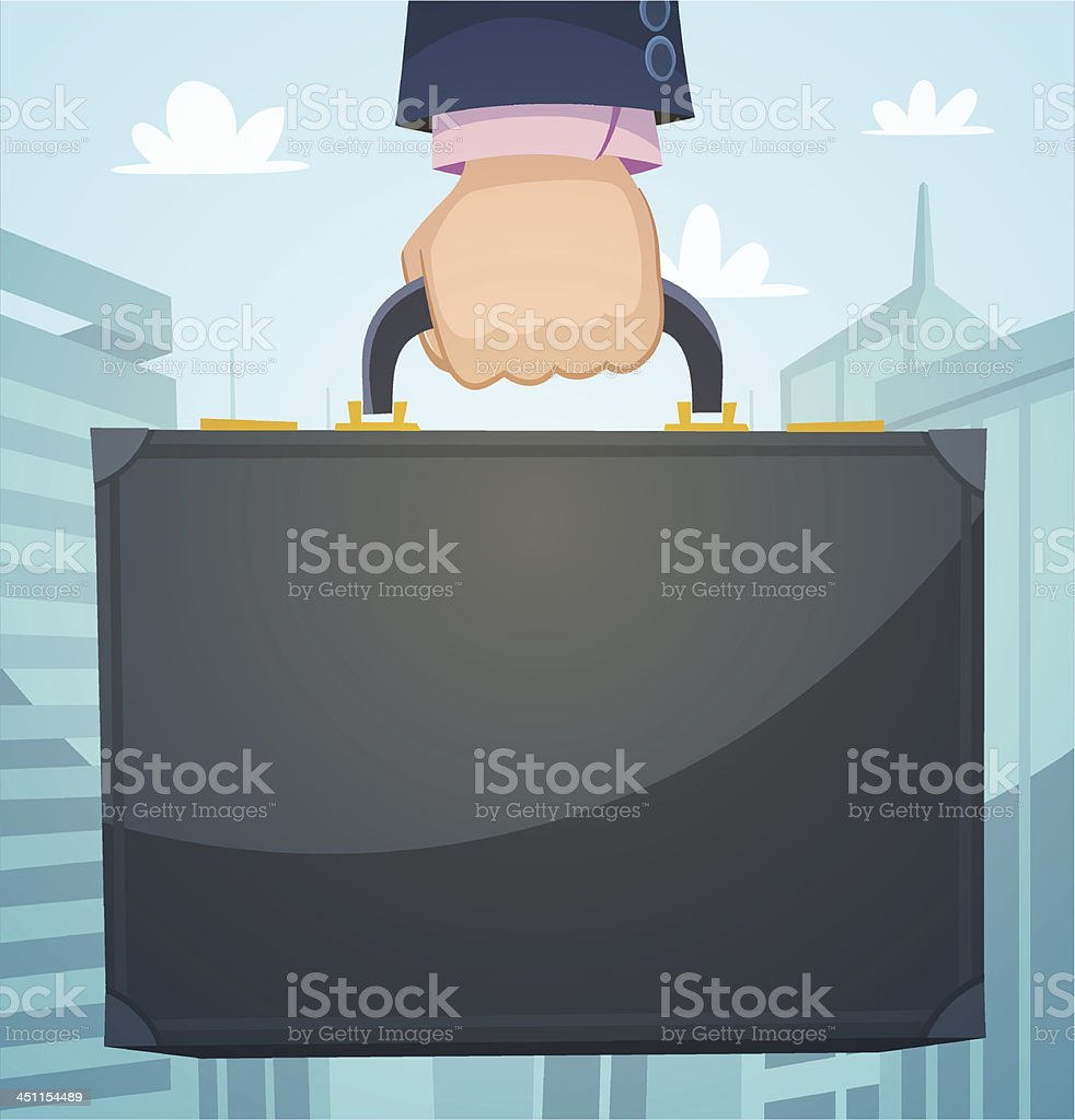 Briefcase in a hand, business illustration royalty-free stock vector art