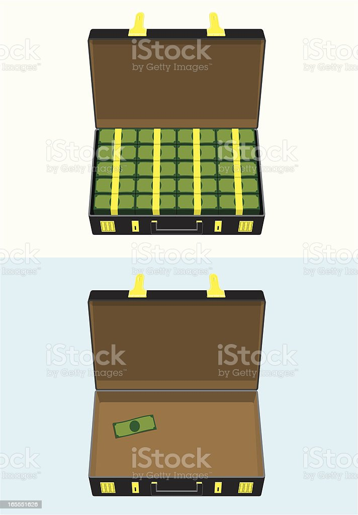 Briefcase of Money; Before & After royalty-free stock vector art