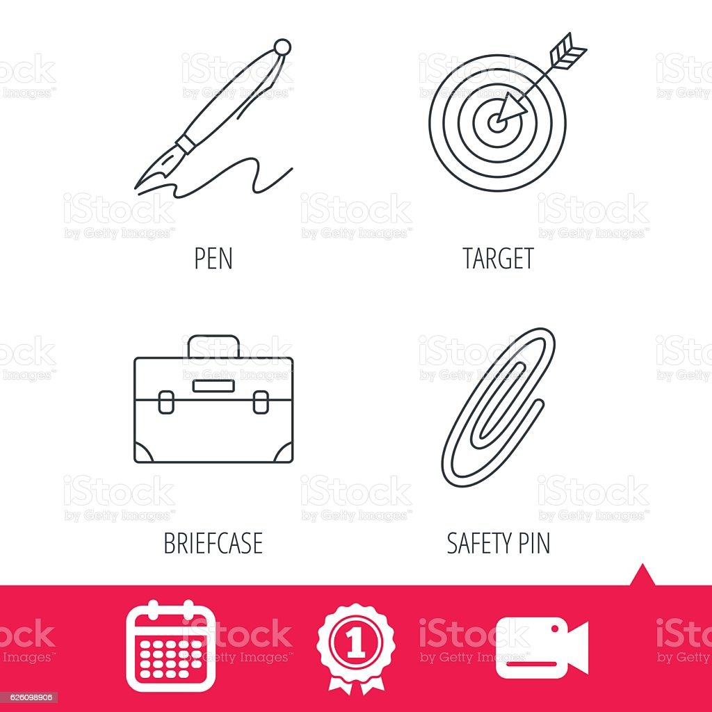 briefcase safety pin and target icons stock vector art 626098906