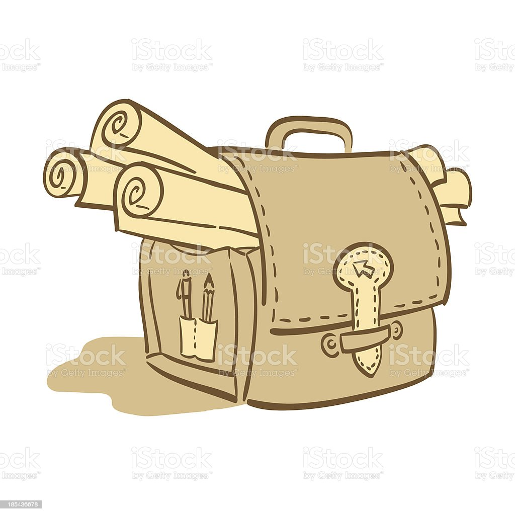 Briefcase with papers - vector illustration royalty-free stock vector art