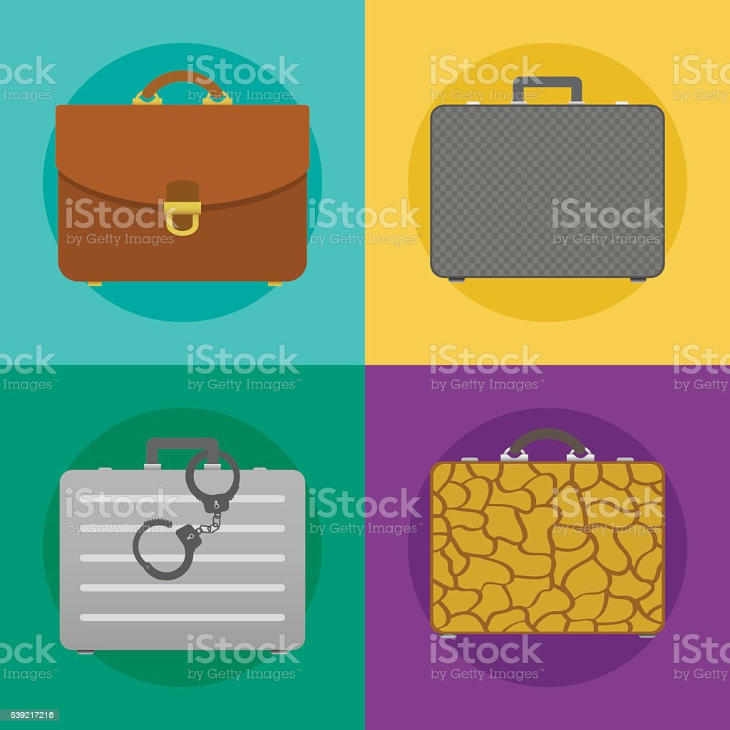Briefcases icon set vector art illustration