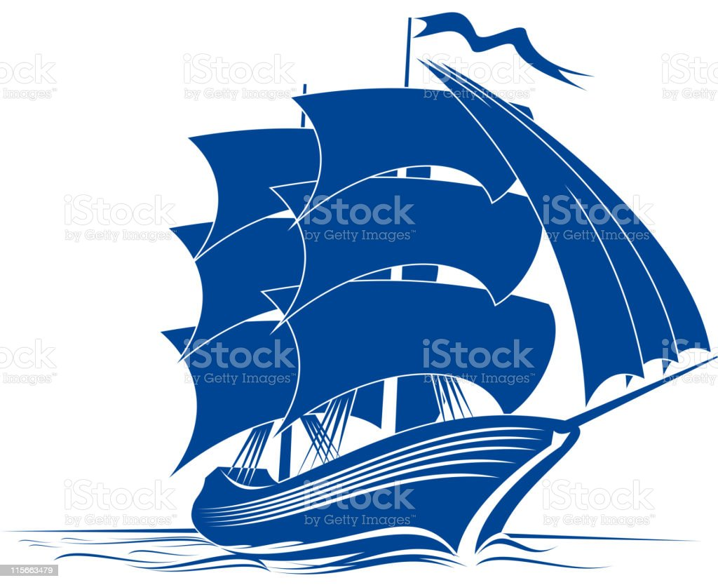 Brigantine vector art illustration