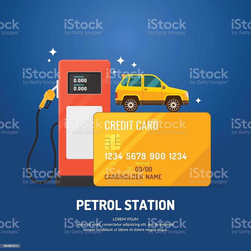 Bright advertising poster on the theme of gas station. vector art illustration
