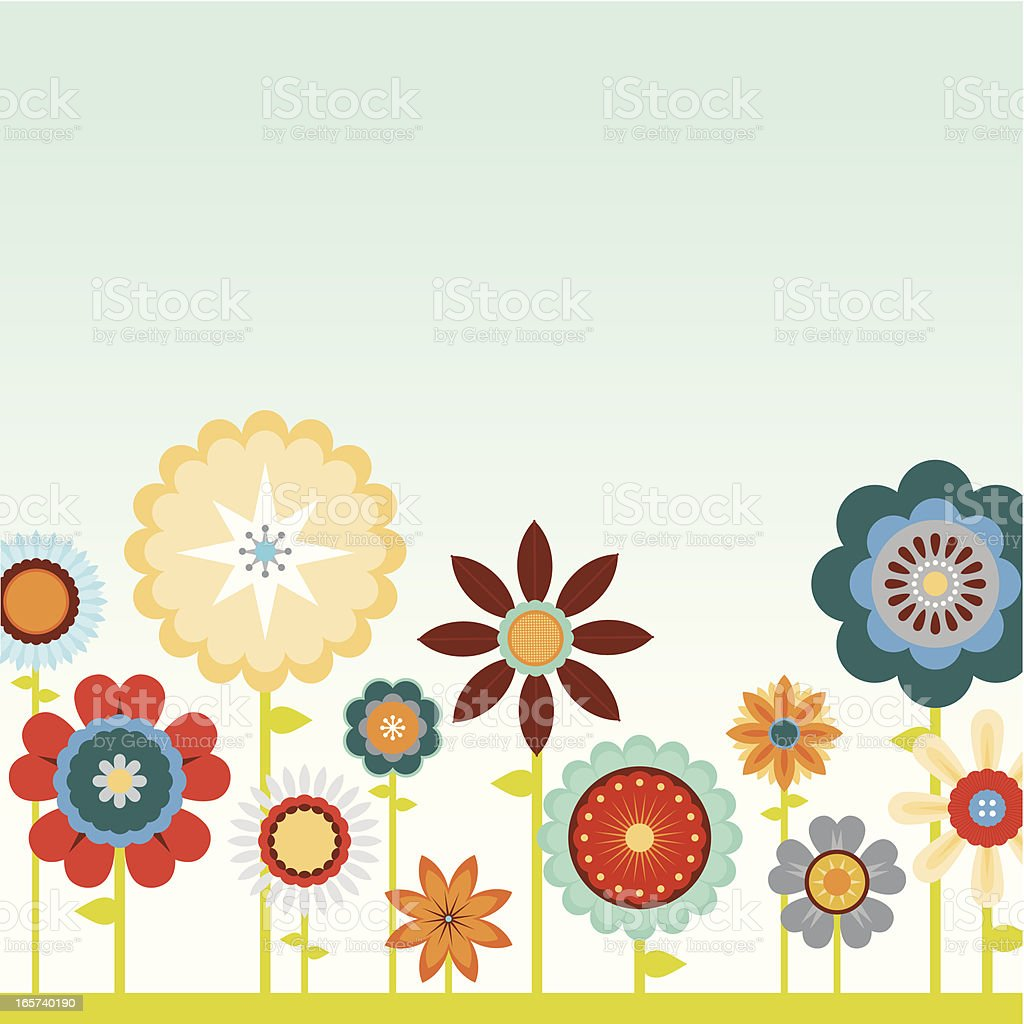 Bright and Blue Flowers vector art illustration