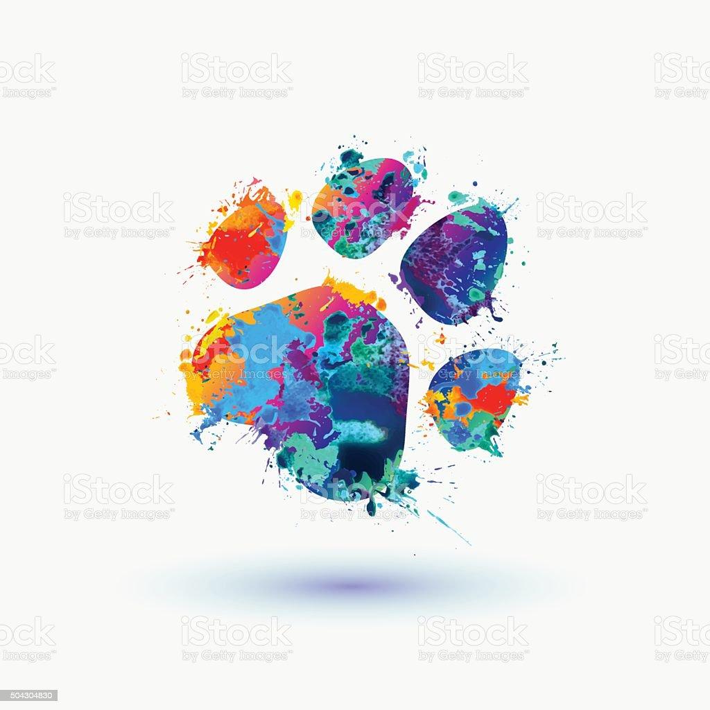 Bright animal footprint icon vector art illustration