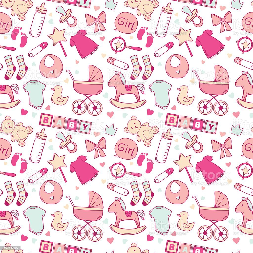 Bright baby girl seamless pattern vector art illustration