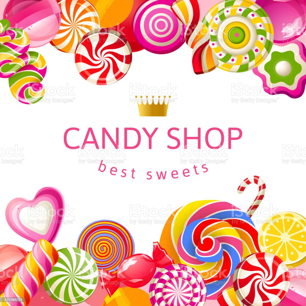 bright background with candies stock vector art 472385201