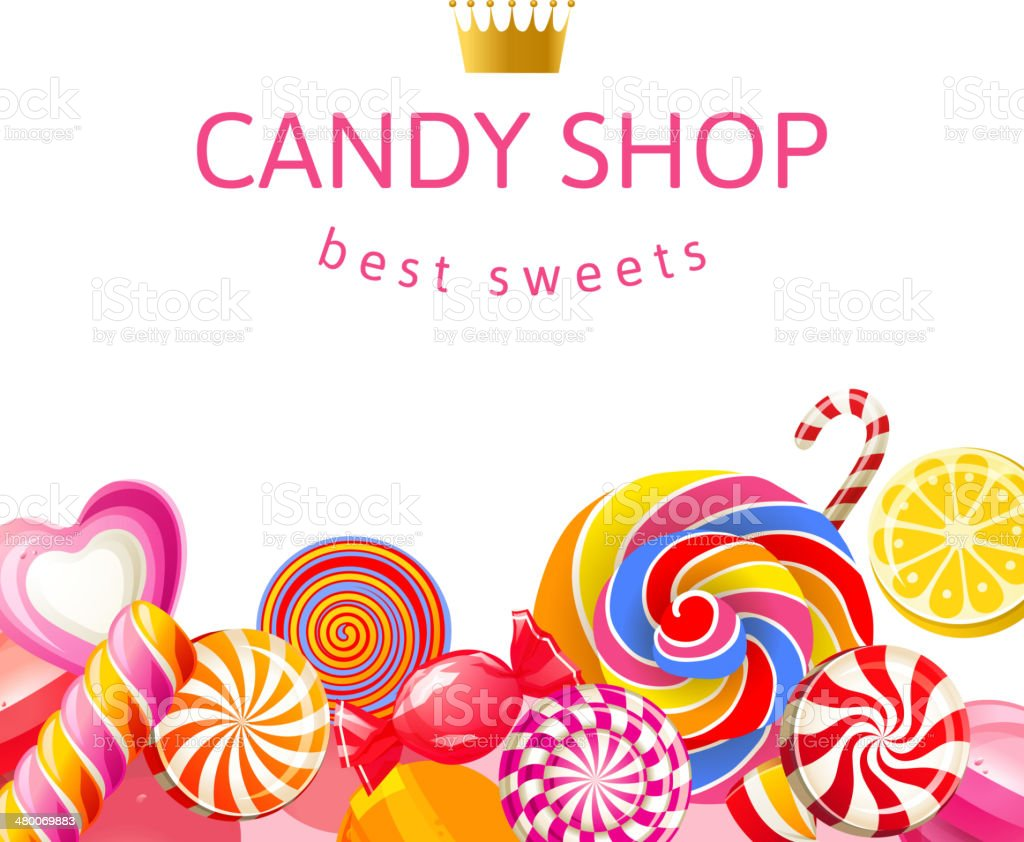 Bright background with candies vector art illustration