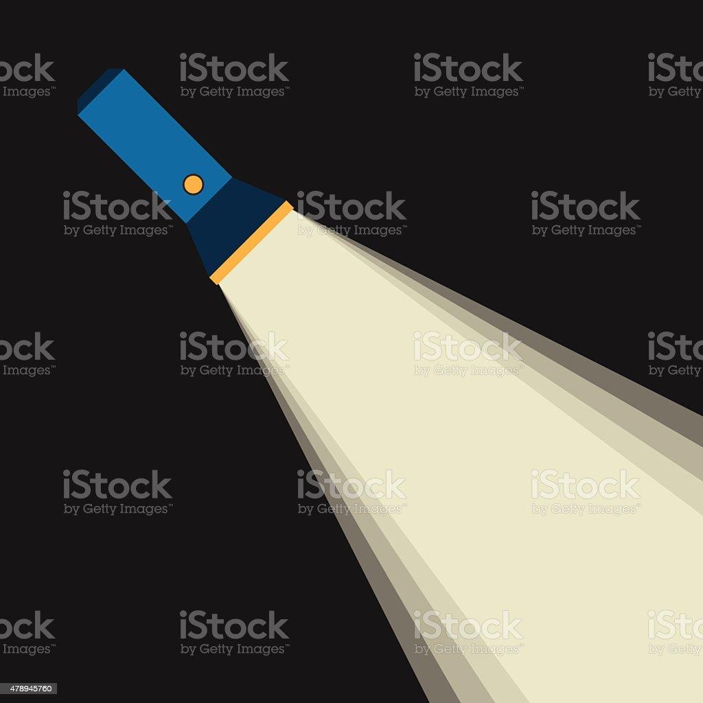 Bright beam of flashlight vector art illustration