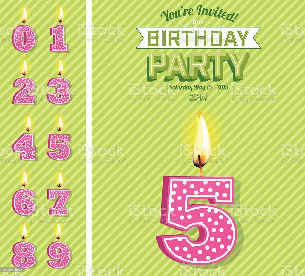 Bright Birthday Card Template With Number Candles Set vector art illustration