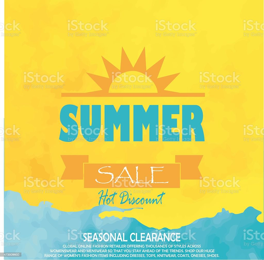 Bright blue and yellow poster with a sun for summer sale vector art illustration
