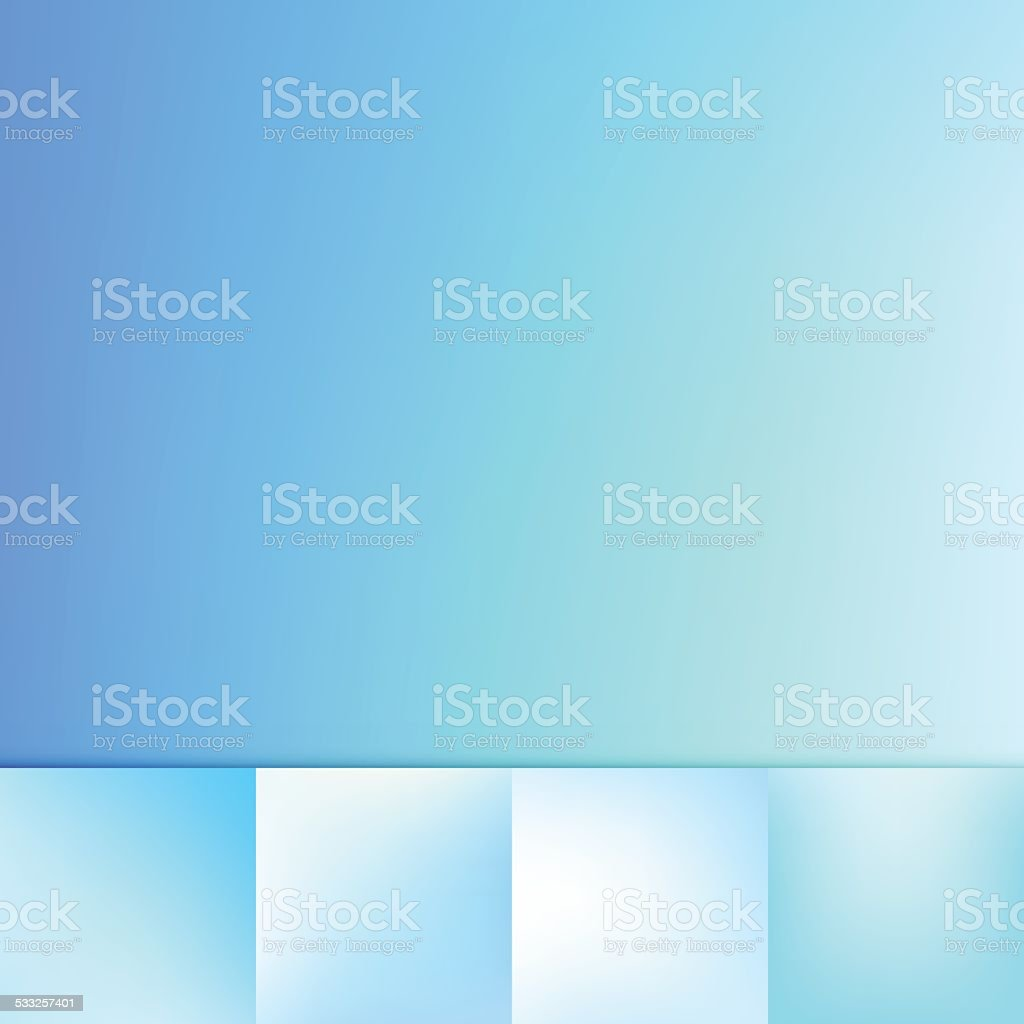 Bright Blue Defocus Blue Color Gradient Vector Background Collection vector art illustration