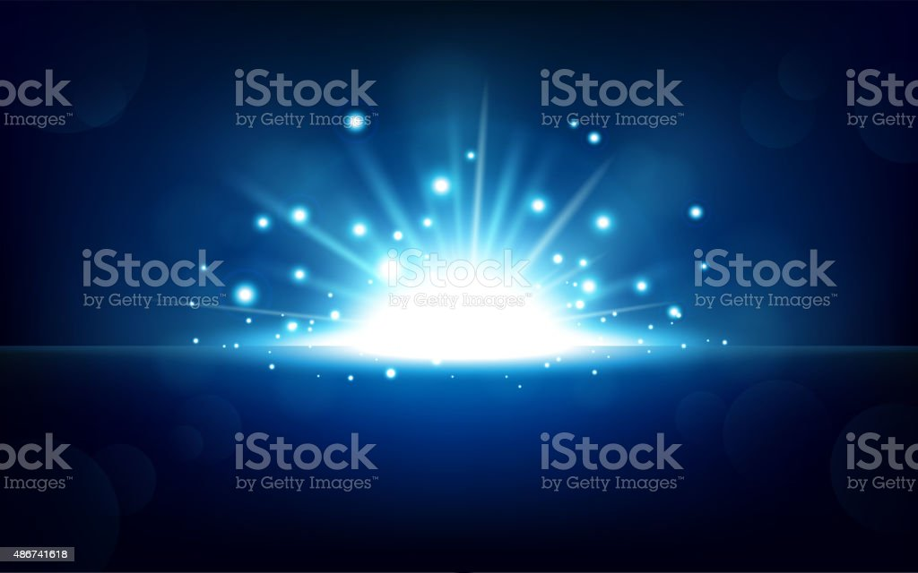 Bright blue light rising from the black horizon vector art illustration