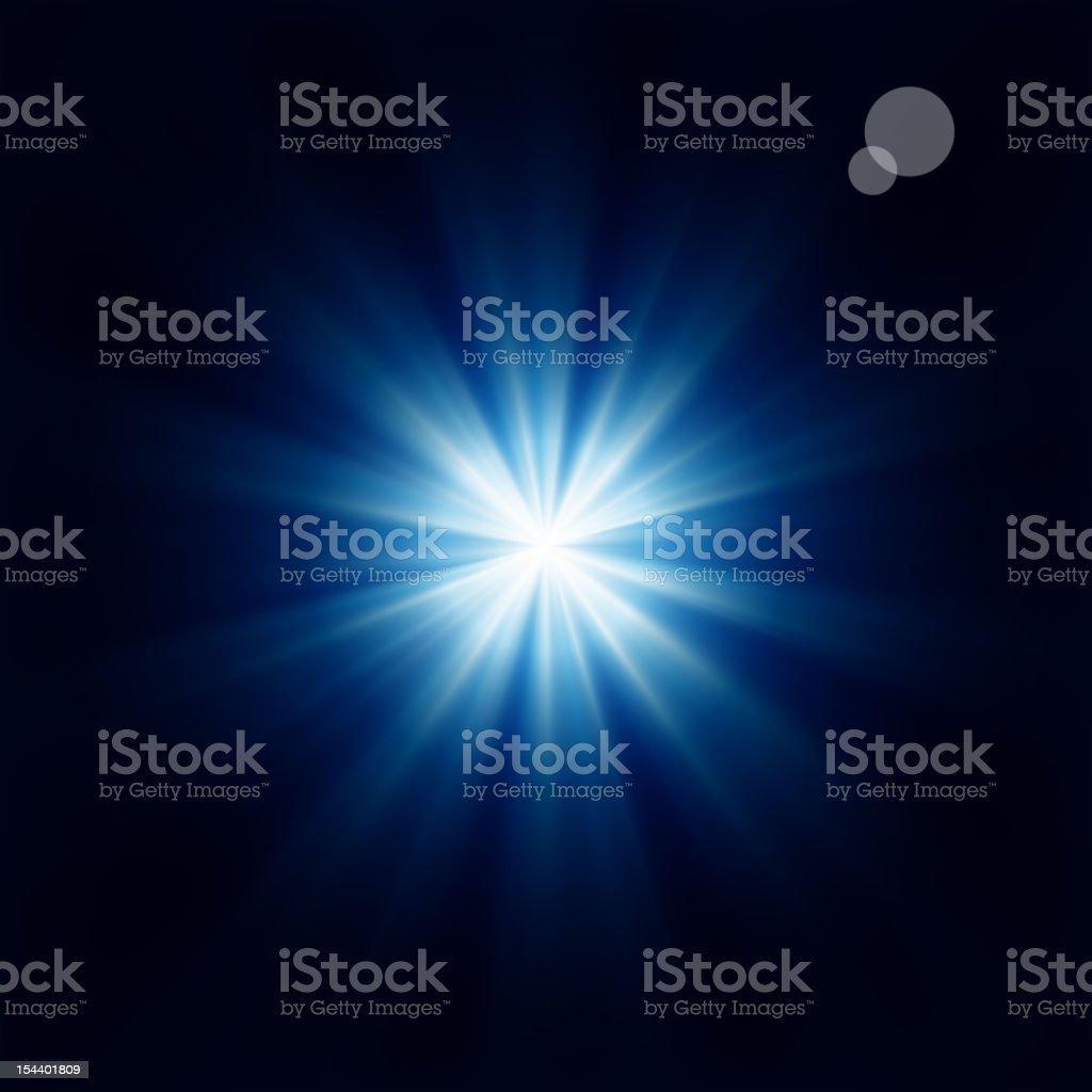 Bright blue star black background vector art illustration