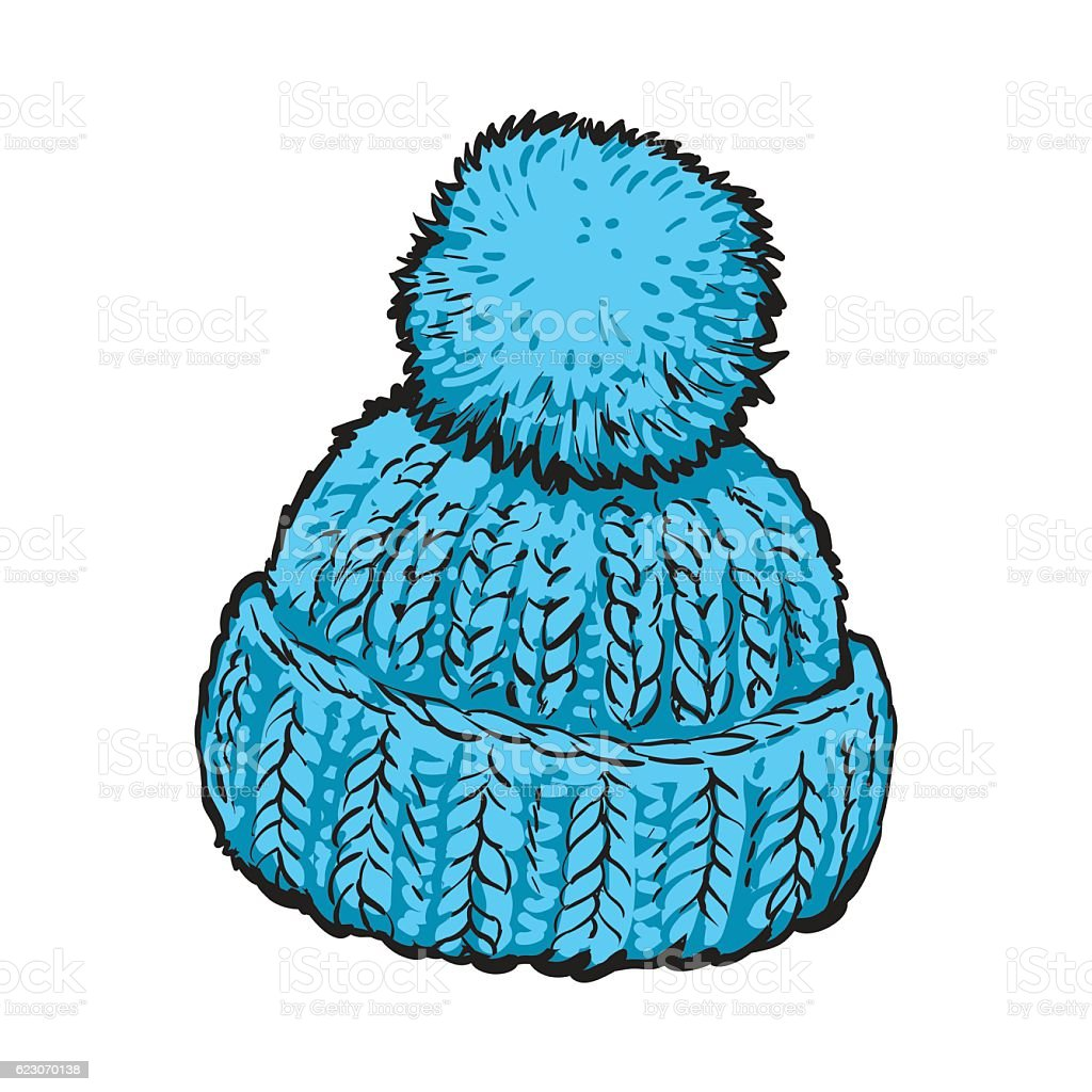 Bright blue winter knitted hat with pompon vector art illustration