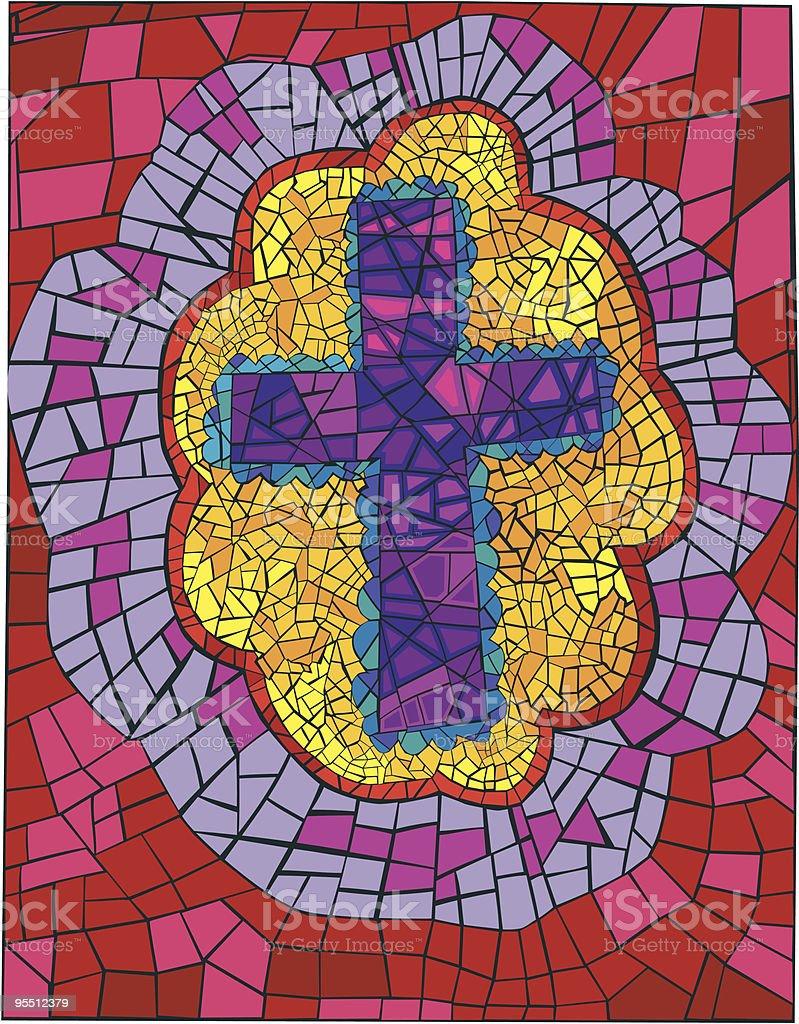 Bright Bordered Mosaic Cross vector art illustration