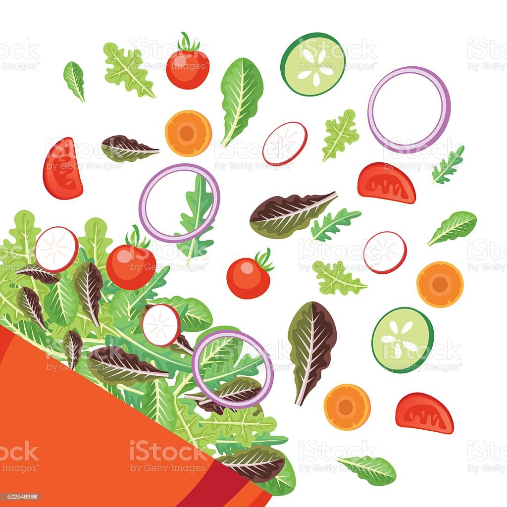 Bright Bowl Of Salad With Flying Vegetables vector art illustration