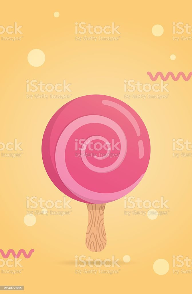 Bright candy ice cream with spiral. vector art illustration