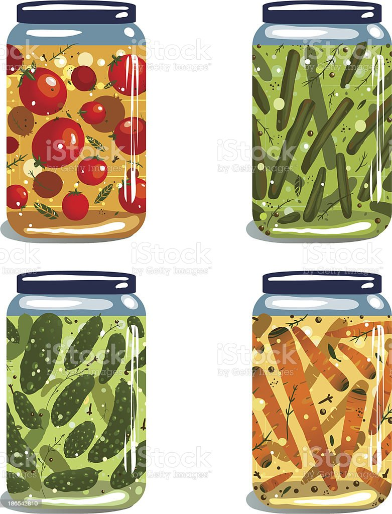 Bright Canned Pickled Vegetables Collection royalty-free stock vector art