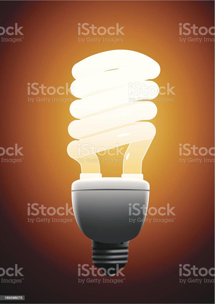 Bright cfl lamp vector art illustration