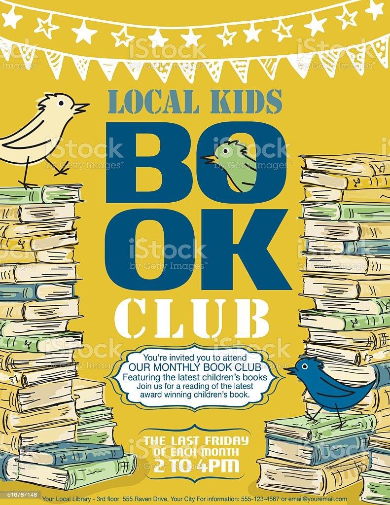 Bright Children's Book Club Poster Template vector art illustration