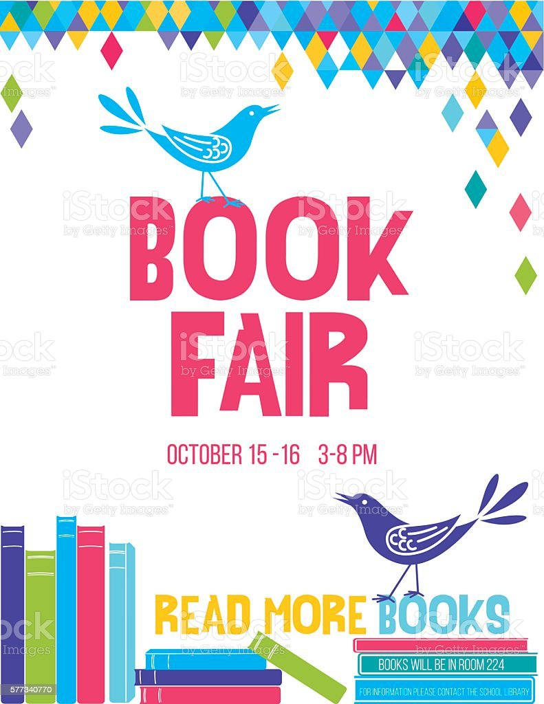 Bright Children's Book Fair Poster Template vector art illustration