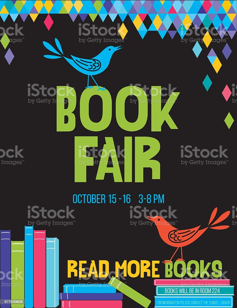Bright Children's Book Fair Poster Template vector art illustration