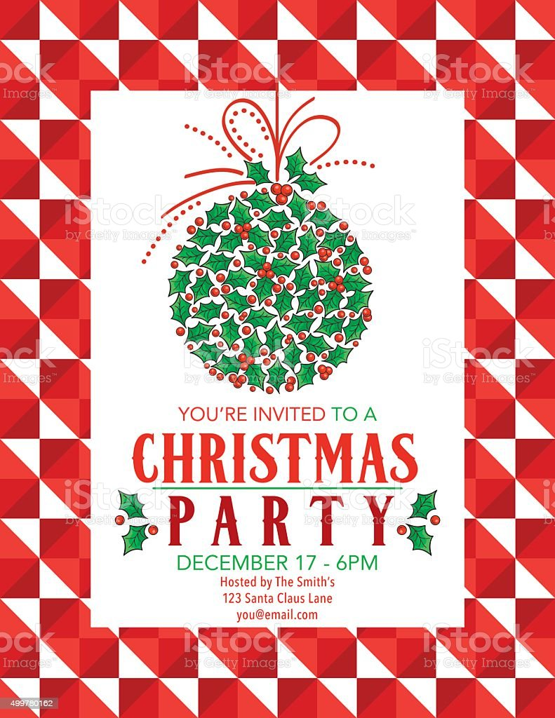 Bright Christmas Party Invitation With Holly And Ribbons Ornament vector art illustration